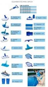 Acessórios e equipamentos para limpeza de piscinas