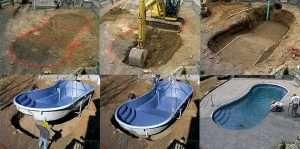 Instalação de piscina de fibra de vidro