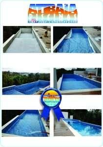 Serviços de construção e instalação de piscinas de vinil.