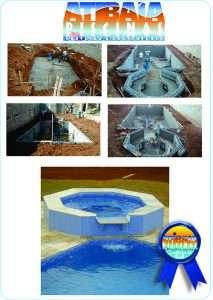 Serviço de construção de piscinas com SPA e cascata.